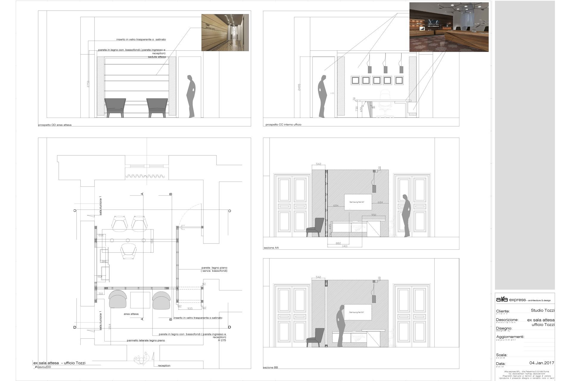 Rome private office - elevations